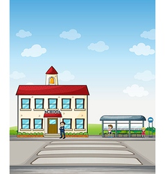 School and bus stop vector