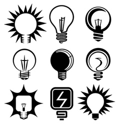 Bulb icons set vector