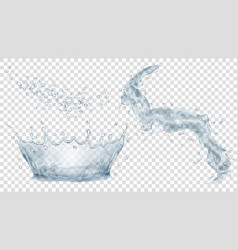 Gray water crown drops and splash of water vector