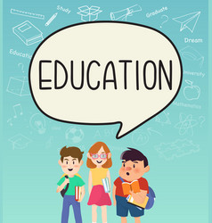 Girls and boys pupils with education on vector