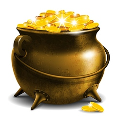 Pot with treasure vector