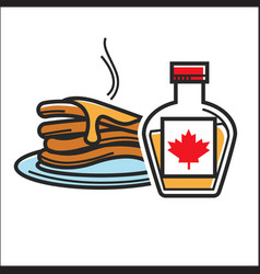Canadian pancakes in maple syrup isolated vector