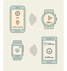 Smartwatches and smartphones communication vector image
