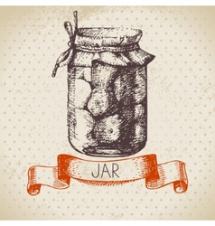 Rustic canning jar with tomato vector