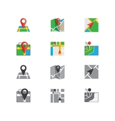 Flat colored location icon vector