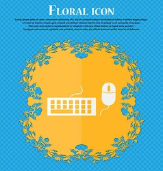Computer keyboard and mouse icon floral flat vector