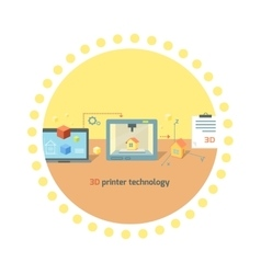 Printer technology icon flat design vector
