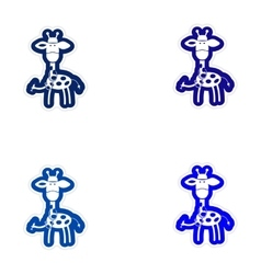 Set of paper stickers on white background giraffe vector