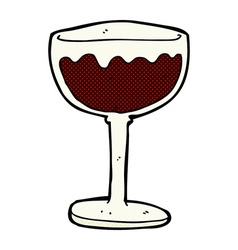 Comic cartoon glass of red wine vector