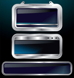 A set of chrome metallic labels vector