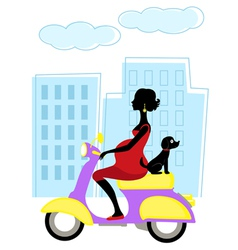 mom to be scootering with a dog vector image