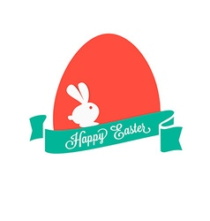 Happy easter colorful egg with ribbon and rabbit vector