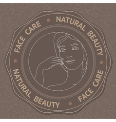 Face hand and text face care natural beauty vector