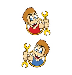 Happy guy smile cartoon holding mechanic tool vector