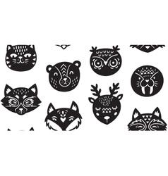 Animal paper cut seamless pattern vector