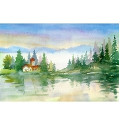 Beautiful watercolor summer river landscape vector image