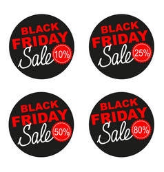 Black friday sale sticker set isolated on vector
