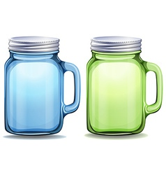 Blue and green jars with aluminum lids vector
