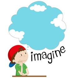 Boy with imagination bubble vector