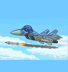 Cartoon fighter fires a rocket vector