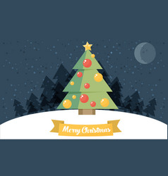 christmas card christmas tree flat vector image vector image