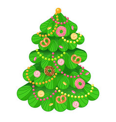 Christmas tree with sweets and toys on white vector