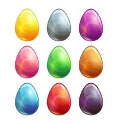 Colorful glossy metal eggs set vector