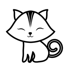 Cute cat closed eyes spiral tail outline vector