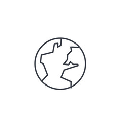 earth planet thin line icon linear symbol vector image vector image