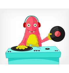 Funny Monster DJ vector image