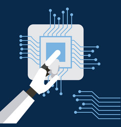 hand robot humanoide with circuit board vector image