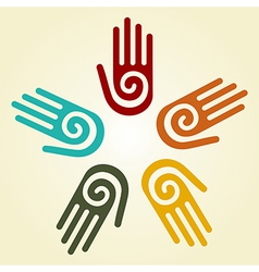 Hand with spiral symbol in a circle vector