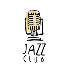 Jazz club logo design music label with retro vector