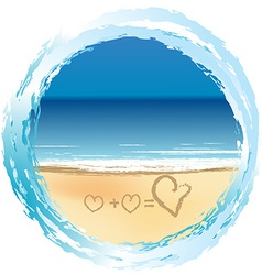 Love concept with hearts drawn on the sand vector image