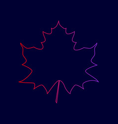 Maple leaf sign line icon with gradient vector