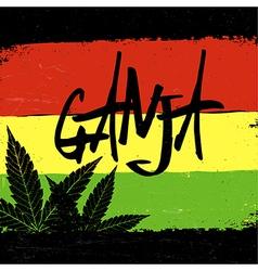 Marijuana silhouette ganja typography marijuana vector