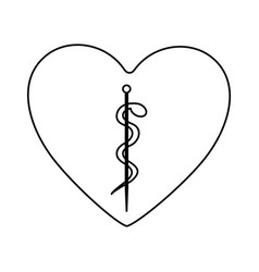 monochrome silhouette of heart with asclepius vector image vector image