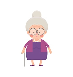 Old lady in purple dress with walking stick vector