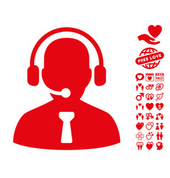 Reception operator icon with valentine bonus vector