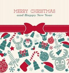 Retro christmas card typography vector