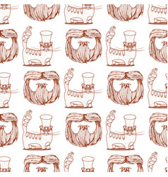 Seamless pattern with cat in a top hat and beard vector