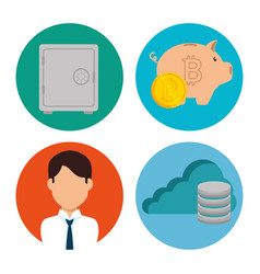 Set of block chain tecnology icons vector