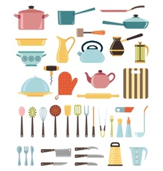 Set of kitchen utensil and collection of cookware vector image