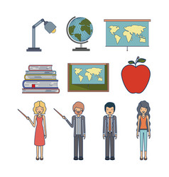 set people teacher and element to teaching vector image vector image
