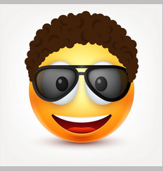 smiley with glasses and hairssmilinghappy vector image
