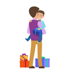Smiling small boy with gift box on father s hands vector