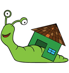 Snail with home cartoon vector image