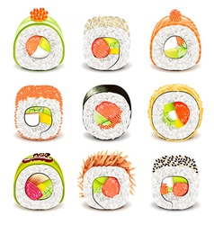 Sushi roll icons set vector image vector image