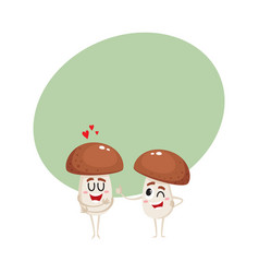 Two mushroom characters one showing love another vector