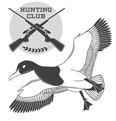 Vintage label with a duck weapons for lucky vector